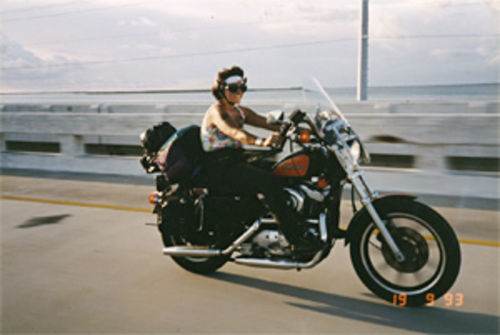 Kaufman when she still rode a Harley