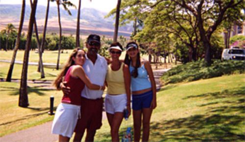 Richard with his wife, Sandra, and daughters