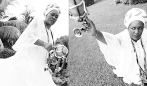 Vodou priests and priestesses wear white and are the only people allowed to handle the ason, a rattle made of a calabash gourd and used to direct rituals