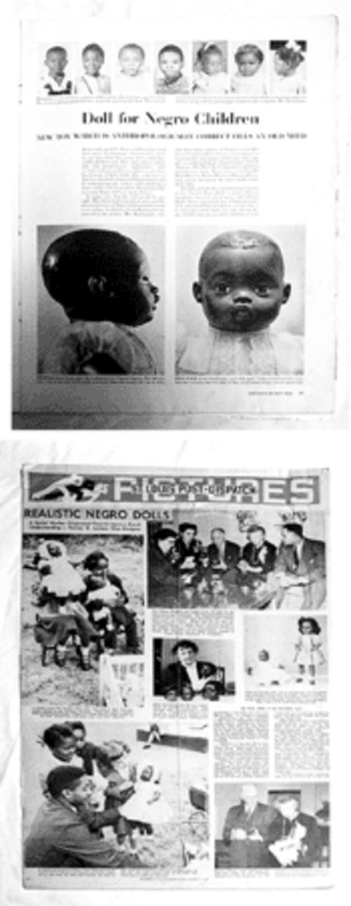Many publications ran stories on Sara Lee. At top, from Life, are examples of some  of the 500 photographs Creech took to help design the doll. At the bottom are pictures from the St. Louis Post-Dispatch of Eleanor Roosevelt's tea.