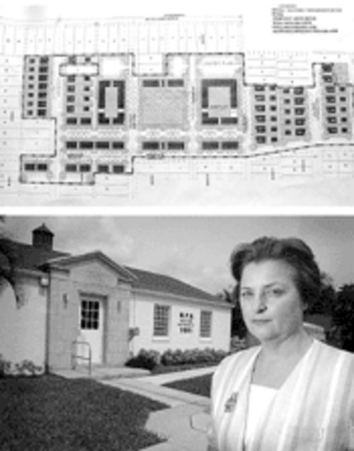Above, architectural renderings of Merry Place, which might have transformed the area. Below, Executive Director Laurel Robinson acknowledges that the housing authority  has not always served Pleasant City well.