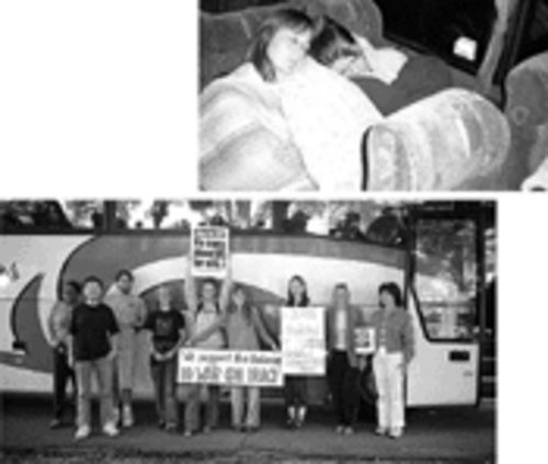 A group of South Florida protesters poses outside the bus. Among them are Pavel Gubanikhin (second from left) and Evonn Gibbs (third from right). At top, mother and daughter Tina and Sarah Gwaltney catch some hard-to-get shuteye on the bus