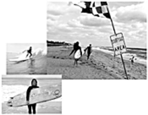 Top right, Parya Jatala runs into the surf on a frigid day at Boynton Beach. Top left, Kristy Murphy crouches on her longboard and, on the bottom, Jupiter surfer Kristy Murphy and the Siren longboard she helped design.