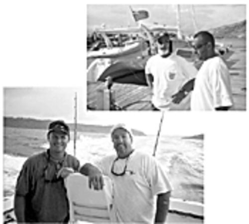 Frank Flynn (right, bottom photo) and Darrin Isaacs zip off to the next promised land of the marlin. Antiguan captain Frank Hart (left, top photo) is coveted for his local fishing wisdom.