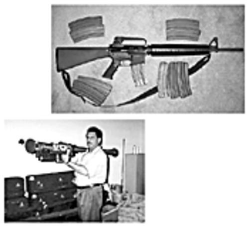 The Bushmaster is ready for insurrection (above). Accused gunrunner Abbas (below) checks out a Stinger missile in West Palm Beach.