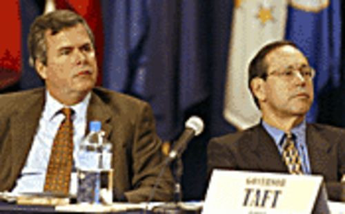 Gov. Bush (left, at the conference, along with Ohio's Gov. Bob Taft) was not amused.