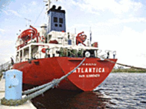 The Atlantica, confiscated by federal marshals, may be sold so that bosun Petro Bulaenko (pictured below) and the rest of the crew can collect back pay.