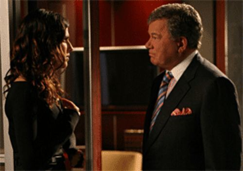 Remember the name: Boston Legal's Denny Crane (William Shatner, with Lake Bell).