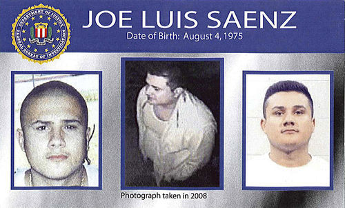 Ten Most Wanted: Jose Saenz�s likeness featured on the FBI�s new poster.
