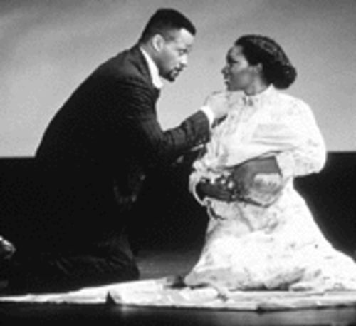 Lawrence Hamilton as Coalhouse Walker, Jr. in Ragtime, with Lovena Fox as Sarah