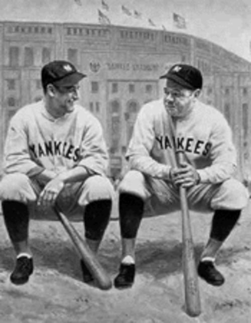 Lou Gehrig (left) and Babe Ruth pose in front of Yankee Stadium, 1927