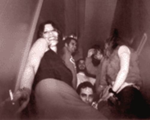 Maria Marocka (front left) leads the Curious Hair down the up staircase at Tobacco Road