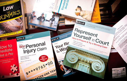Just a few of the books he has used to file his 31 lawsuits.