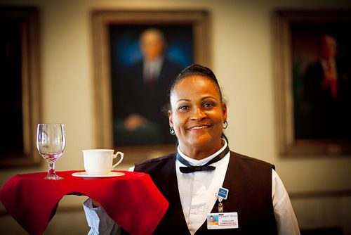 Khalilah works the lunch shift inside Mount Sinai Hospital's dining hall five days a week.