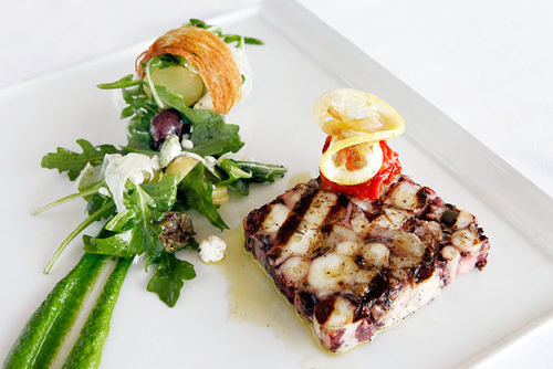 3030 Ocean's  $15 grilled octopus with Dutch potatoes and an arugula salad.
