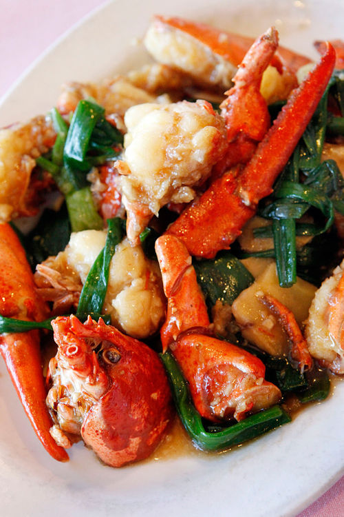 Lobster with ginger and scallion.