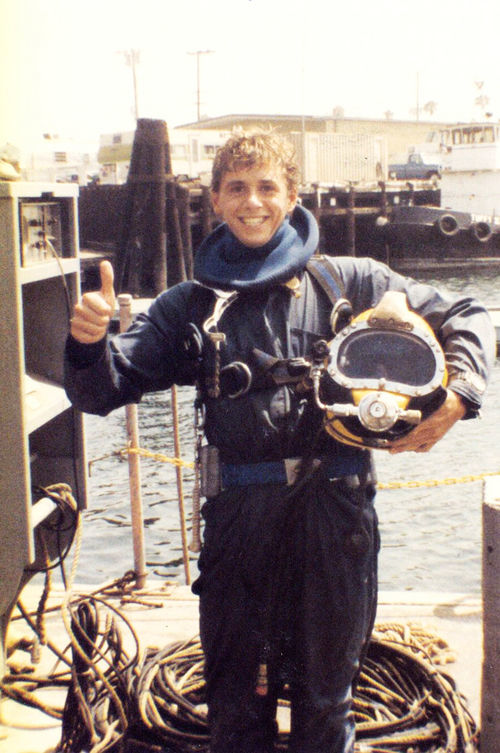 A teenage Patrick Lahey in dive school.
