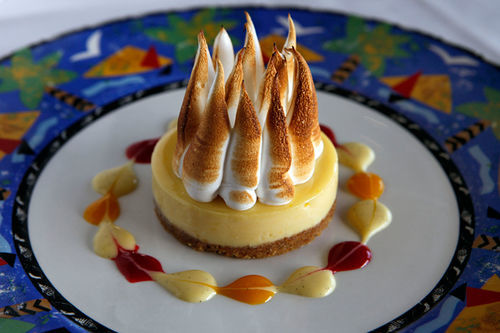 """Not the Usual"" Key Lime pie with burnt meringue."