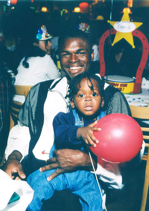 Antonio Andrew celebrates his son A.J.'s first birthday in 1995.