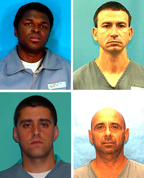 Clockwise from top left: Antonio Andrew, a car thief; Rosendo Betancourt, who helped police lay the trap; Roger Gonzalez Sr., the group's ringleader; and his son, Roger Gonzalez Jr., the raid's only survivor.