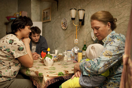 Alexey Rozin as Sergey, Evgenia Konushkina as Tatyana, and Nadezhda Markina as Elena in Elena, a film by Andrei Zvyagintsev.