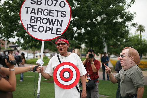 Protesters rally in the wake of Senate Bill 1070.