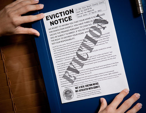 A copy of the mock eviction notice.