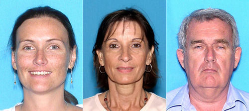 From left to right: Leslie Delbecq; her mother, Jeanine De Riddere; and her father, Philippe Delbecq. All three are wanted by the FBI on charges of international parental kidnapping.
