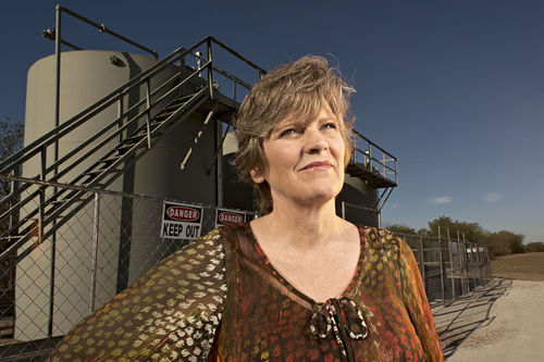 Sharon Wilson, anti-fracking advocate,  near Justin, TX.