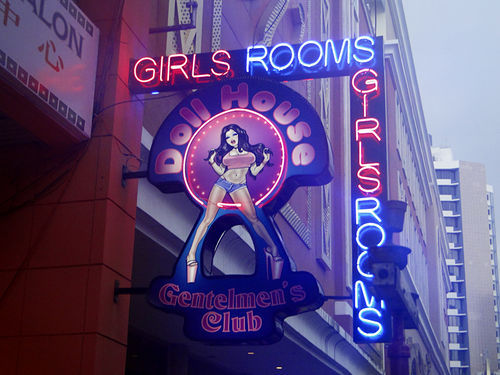 The club's neon sign on Via Veneto in Panama City.