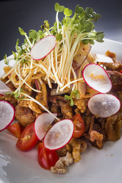 Crispy pork onion salad pushes limits of salad.