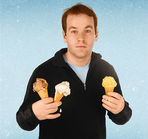 Mike Birbiglia prepares to go all Madonna with his cones.