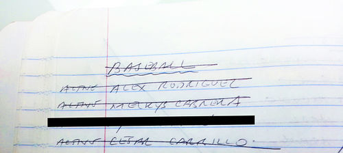 Handwritten client lists from Biogenesis.