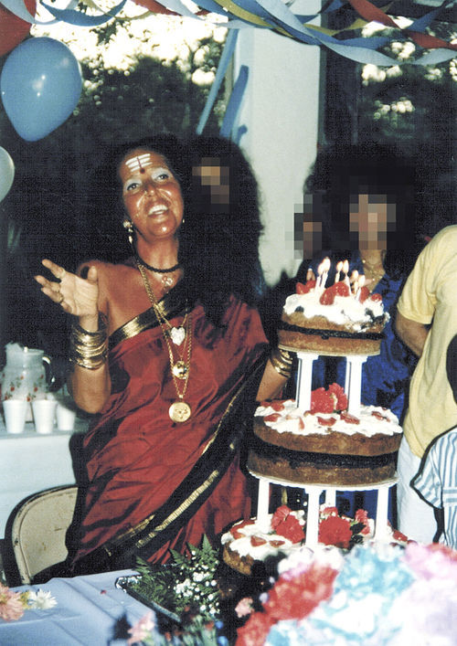 Ma Jaya celebrates her birthday in the late 1980s. Her clothing reflected her interfaith teaching.