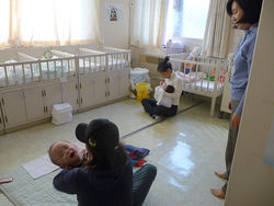 Korean Social Services director Choon Hee Kim, at right, took Chae through the orphanage where Chae was sent after being given up for adoption.
