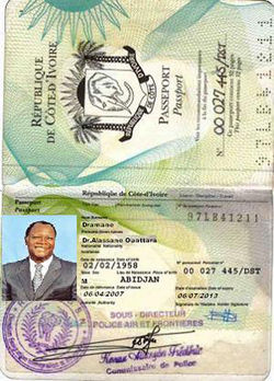 The fake Dr. Alassane sent this passport to prove his identity.