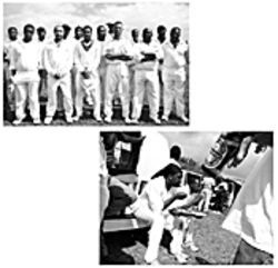 The Leeward Islands players (above) display their cricket whites -- it is a gentleman's game, after all -- before Jarvis Francis and Boswell Jeffers, at right, chow down on seasoned rice.