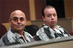 "Anthony ""Big Tony"" Moscatiello (left) and James ""Pudgy"" Fiorillo in a Broward courtroom in 2006. They are two of the three men accused in the 2001 gangland-style murder of Konstantinos ""Gus"" Boulis."