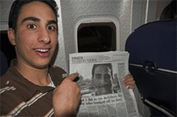 Farris discovers he's famous on the flight home from Baghdad