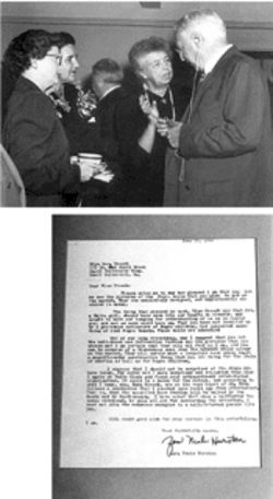 At the Roosevelt tea (at top, from left): Sara Lee Creech, Maxeda von Hesse, Roosevelt, and statesman Bernard Baruch. At bottom is a letter of support for the doll from Zora Neale Hurston.