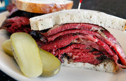 A hit: Ben&#039;s hot pastrami sandwich.