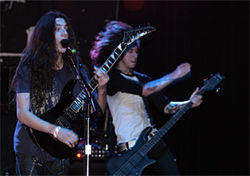 Gabriel Garcia (left), who's just 15, and Zakk Sandler unleash a shred attack.