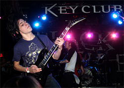 Gabriel Garcia of Black Tide performs at Black Tide's album-release party at the Key Club in L.A. The debut disc, Light From Above, was released March 18.