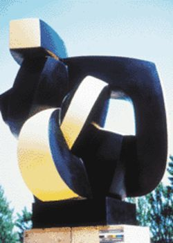 The blending of curves and angles in Sophia Vari's Point Immobile (1993) is characteristic of her more recent work