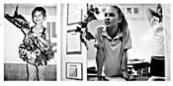 At left, Brittany receives a bouquet of flowers as a baby ballerina; at right, she looks over her science fair entry at her Montessori school.