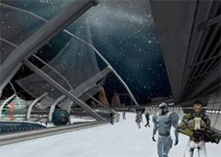 Gamers have a first-person view of Entropia Universe, whether strolling around on an asteroid or hunting monsters with a sniper lens (following image).
