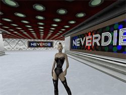 Cheri London's avatar, Sheba, walks through Club NeverDie as other players dance in the club's disco (following images).