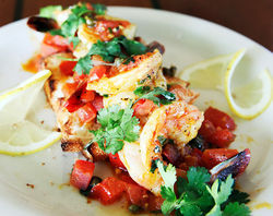 Calypso's tasty shrimp bruschetta.