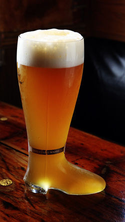 Old Heidelberg's two-liter boot of beer.