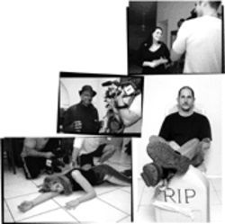 Clockwise from bottom left: Actress Sheyenne Rivers plays dead during the filming of Realms of Blood. Bob Glazier smashed up his old dentures for  the role of Painkiller. Jennifer Sgambati plays Painkiller's wife until he, umm, terminates the marriage. Nick Colameo started out as a production assistant for Fear Films but now portrays anyone from psycho to nerd.
